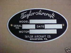Taylorcraft Flugzeug Daten Platte 1930's & 1940s Säure Geätzte IN Aluminium
