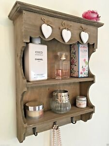 Shabby Chic Wall Unit Shelf Cupboard Hooks Rustic Small