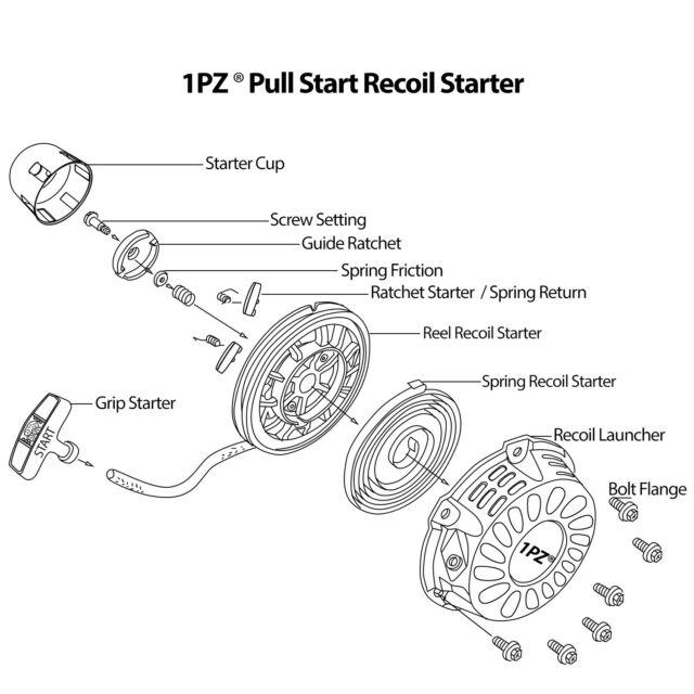 REPLACEMENT PULL START STARTER RECOIL /& CUP LIFAN LONCIN 152F 152 154F