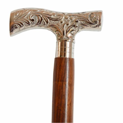"""WALKING STICK CANE Silver Nickel Plate DERBY HANDLE HARDWOOD 36 3//4/"""" Tall Style"""