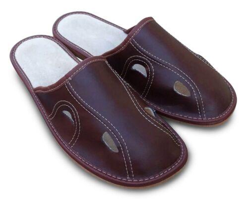 Herren Hausschuhe Pantoffeln Schlappen Latschen Braun Gr.41-45