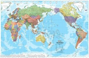 World Map Pacific Centred Poster 100x65cm Large Australia