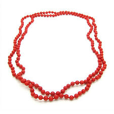 Endless 5mm Red Coral Strand Beaded 44 Inches Long Bracelet or Necklace