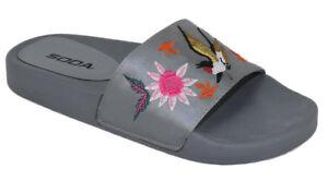 547ea52db661a6 Soda Shoes Women Flip Flops Flat Sandals Slides Embroidery Print ...