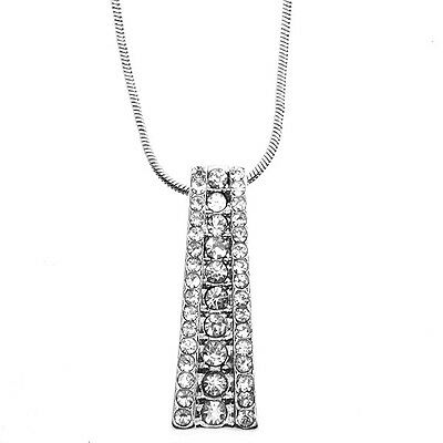 """Silve Color Vertical Graduate Channel Set Bar Pendant with Crystals & 16"""" Chain"""