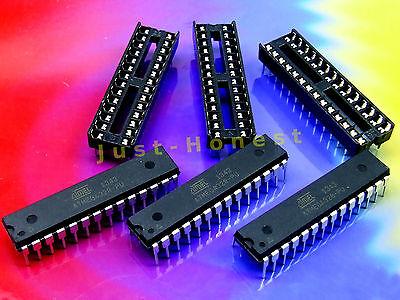 Stk.3x ATMEGA328-PU mit/with ARDUINO UNO bootloader mit/ohne Sockel/Socket DIP28