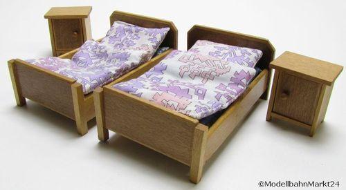 Casa de muñecas dormitorio camas armario sillas