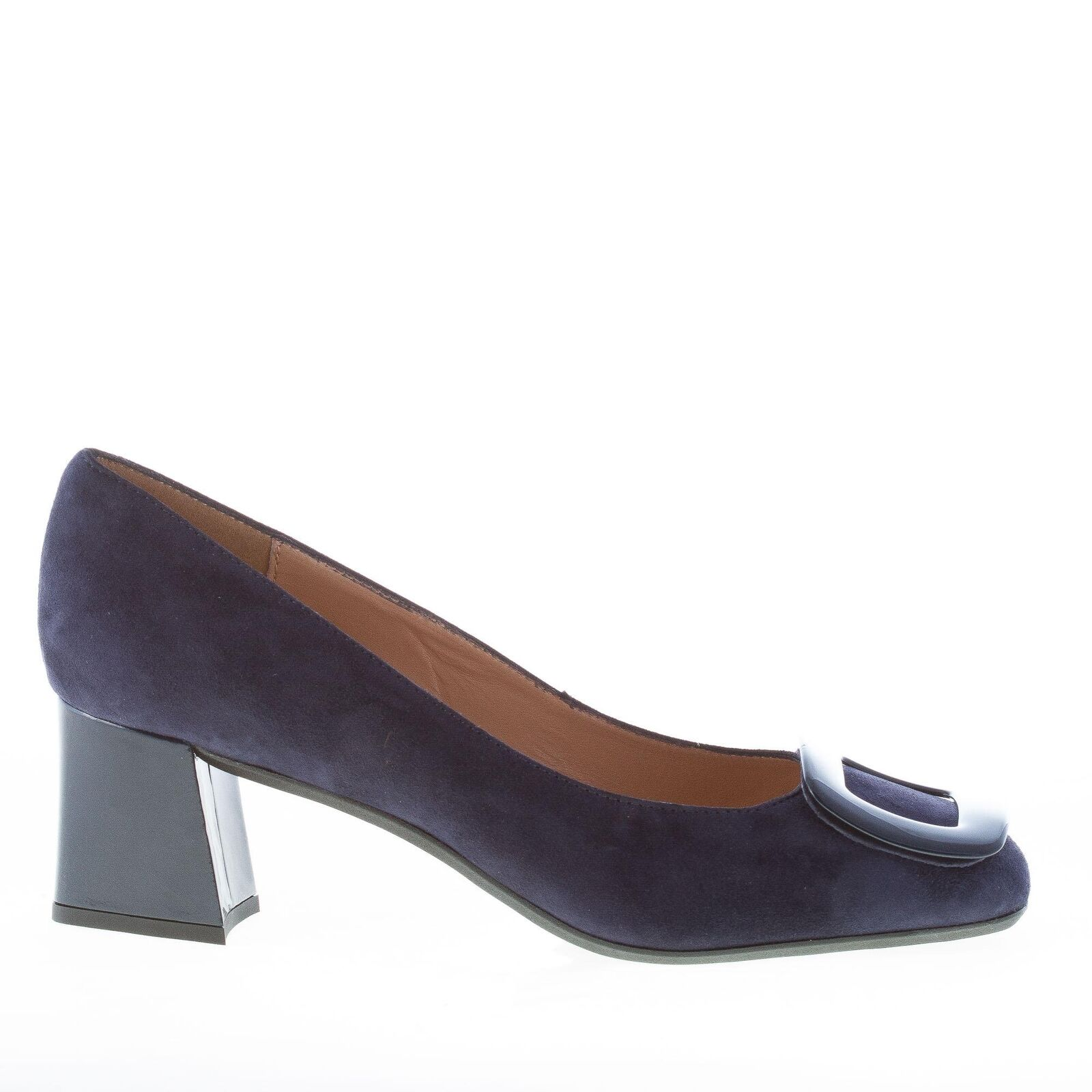 IL BORGO FIRENZE damen schuhe made in Italy Blue suede pump with navy buckle