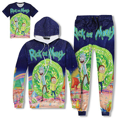 Mens Jogging Tracksuit Womens Hiphop Pullover Training Set Galaxy Forest Printed