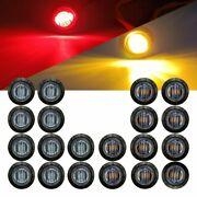 "20X 3/4"" Side Marker Lights LED Truck Trailer Round Side Bullet Light Amber/Red"