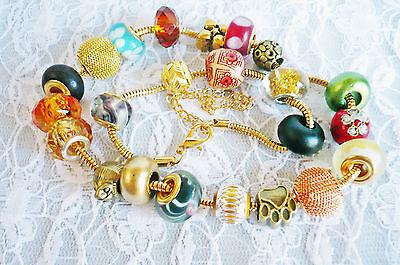 24 tlg., 2in1 Doppel BeadBettelArmband o.r Kette + Beads gold Schmuck Advent NEU