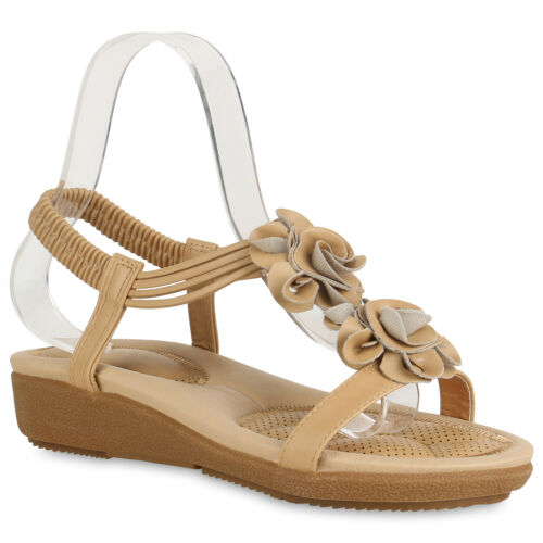 Damen Keilsandaletten Sandaletten Keilabsatz Sommer Schuhe 822582 Trendy Neu