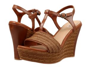 cefeba1c931 Details about NIB UGG Fitchie T-Strap Wedge Platform Sandal Heel RUST BROWN  1010217 Womens 9.5