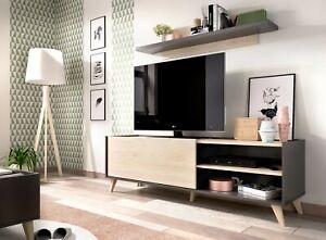 Detalles de Modulo bajo TV comedor moderno mueble salon nature/grafito  47x155x43 fondo