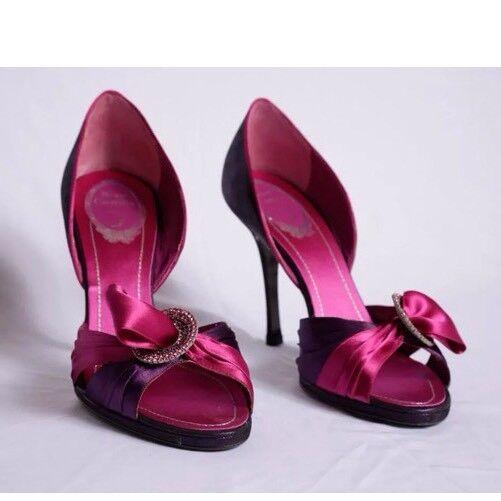 Rene 38.5 Caovilla 38.5 Rene 8 8.5 N Purple Pink Rhinestone Low Heel stiletto Shoes MINT df33f2