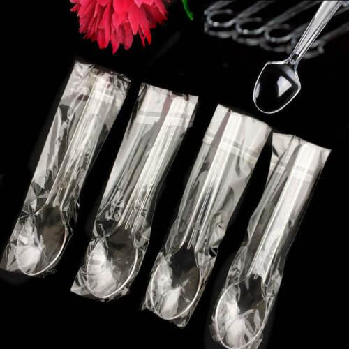 25//50pcs Plastic Mini Spoons Dessert Serving Disposable Teaspoon Party Supplies