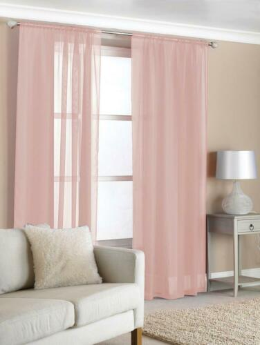 "Pack of 2 Voiles Slot Top Easy Hang Voile Net Panels Curtain 57/"" x 72/"" Pink"