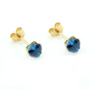5mm 9ct gold round Blue Topaz cubic Zirconia stud earrings