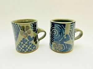2-Modernist-Art-Pottery-Coffee-Mugs-by-Michael-Cohen-ft-Flowers-amp-Hearts