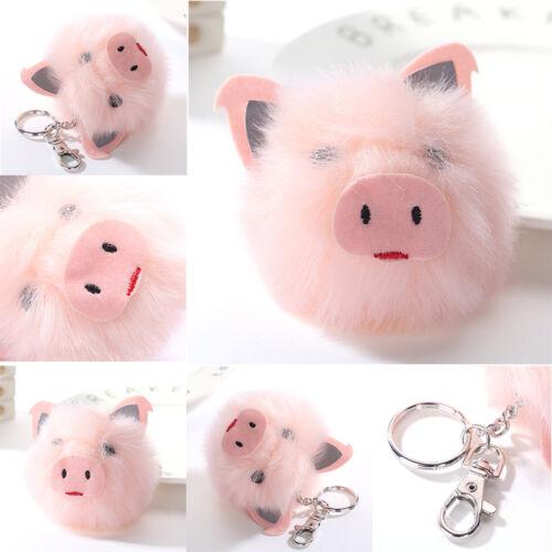 Frauen-Rosa-Schweinekopf ahmte Kaninchen-Pelz Keychain Pom-Schlüsselketten-Auto