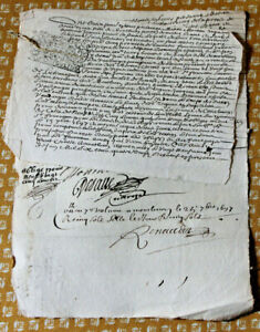 1697-LOUIS-XIV-royal-notary-signed-manuscript-original-animal-cord-gut-2-docs