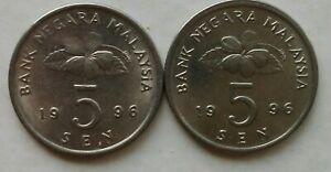 Second Series 5 sen coin 1996 2 pcs