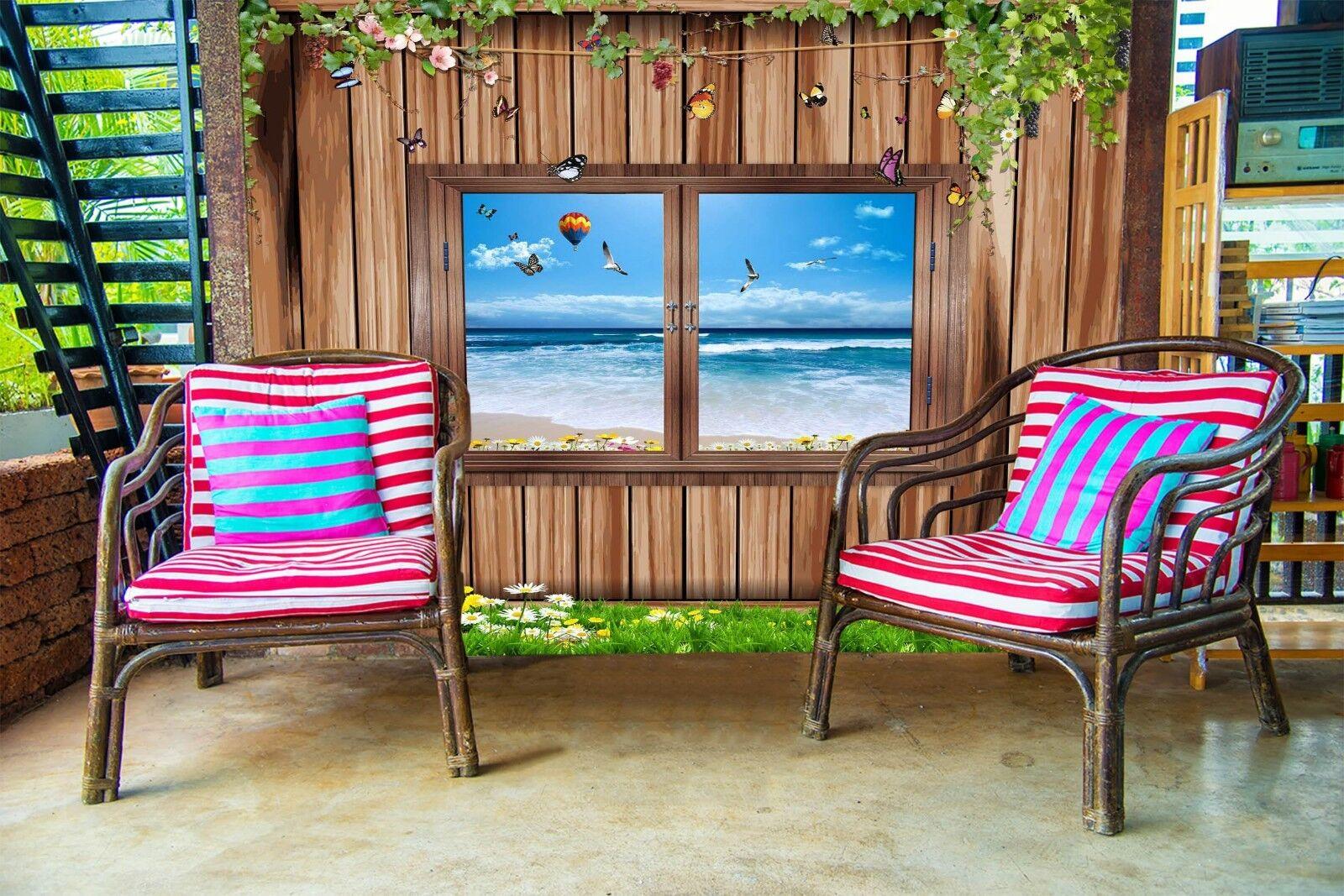 3D Window Sea 7203 Wallpaper Mural Wall Print Wall Wallpaper Murals US Lemon