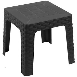 Enjoyable Details About Grey Plastic Outdoor Side Coffee Table Stackable Plastic Garden Furniture Sun Onthecornerstone Fun Painted Chair Ideas Images Onthecornerstoneorg