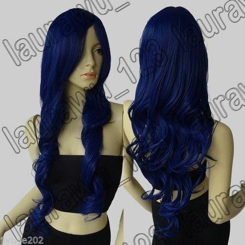 HE-J1004   long new style dark blue wavy health hair wigs for women wig