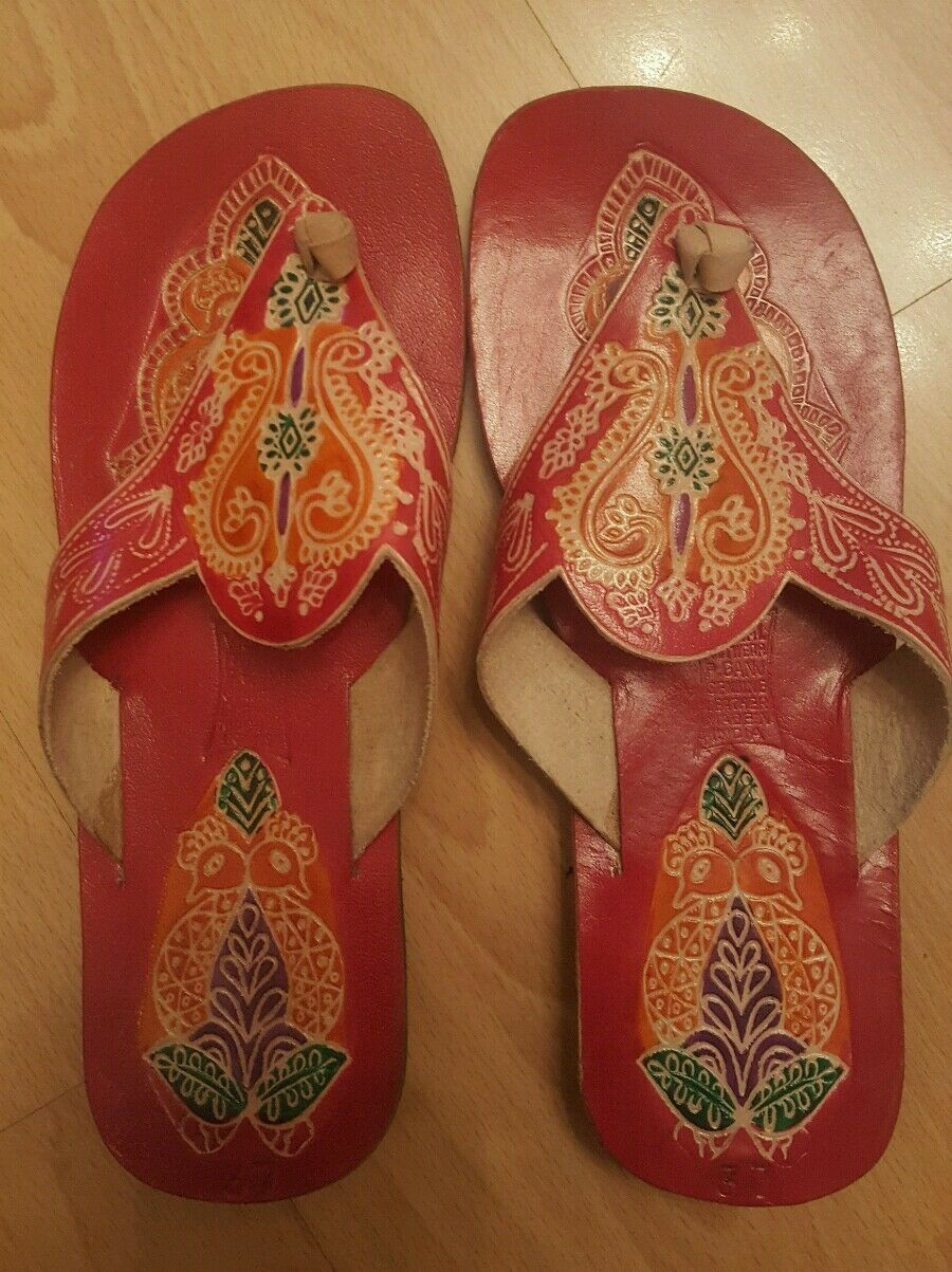 WOMEN'S LEATHER SLIPPERS RED SHOES SANDALS BEACH NEW RED SLIPPERS MULTI COLOR PRINT SIZE 37 a936d8