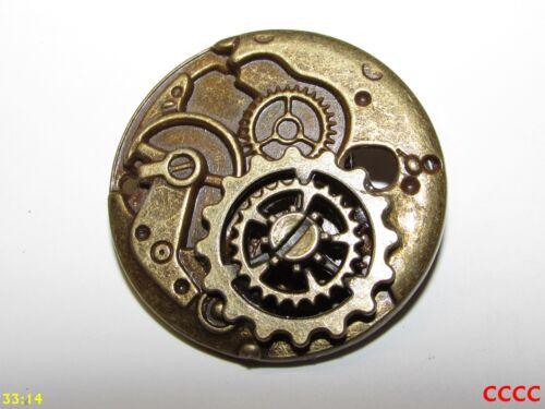 steampunk brooch badge bronze clockwork mechanism with bronze gearwheels//cogs