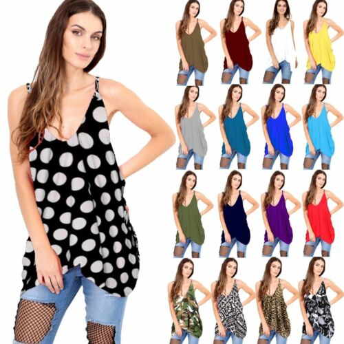 Women/'s Romper V Neck Loose Fit Baggy Lagenlook Top Ladies Cami Vest Tunic Tops