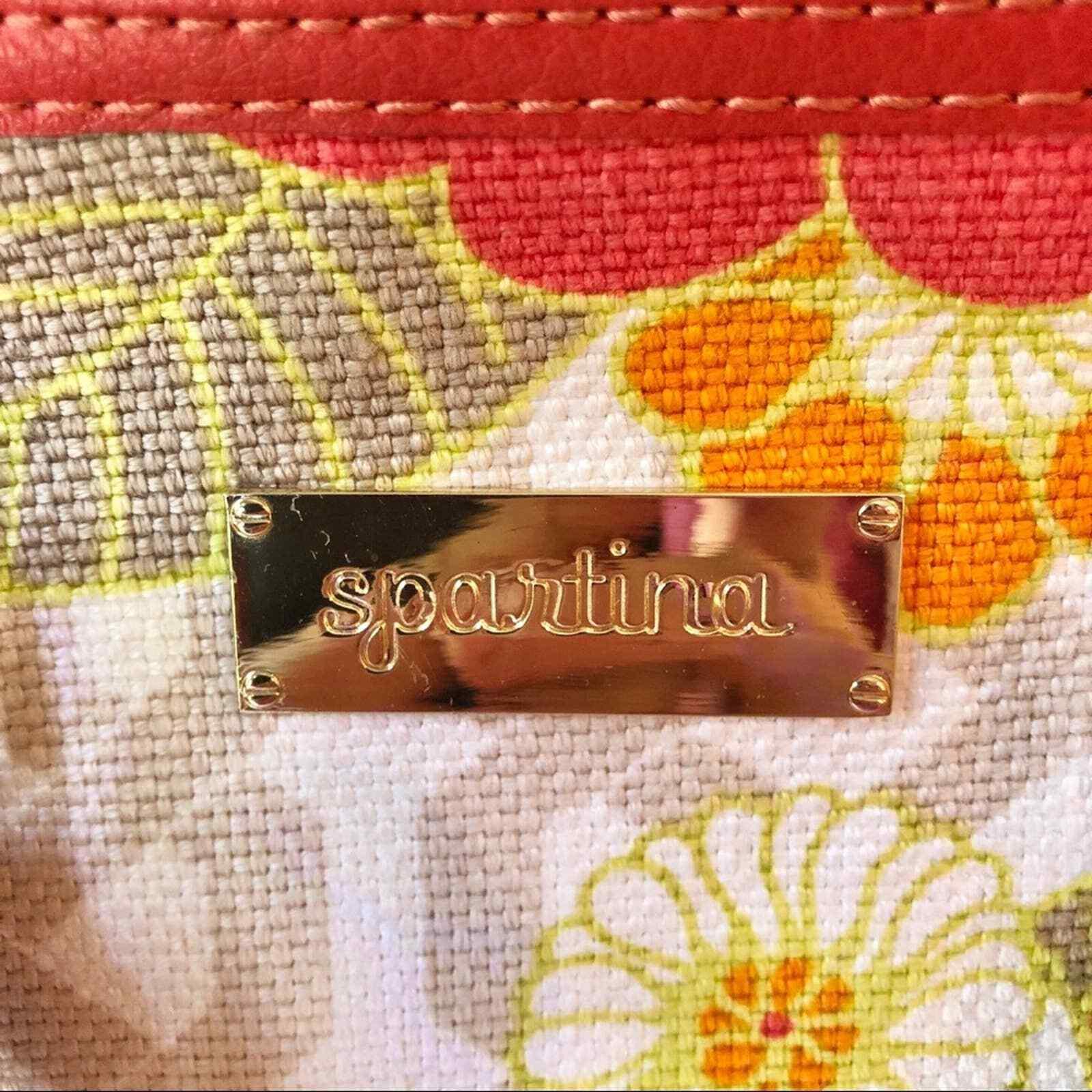 Spartina 449 Woven Linen Coral Yellow Floral Bowler Crossbody Bag