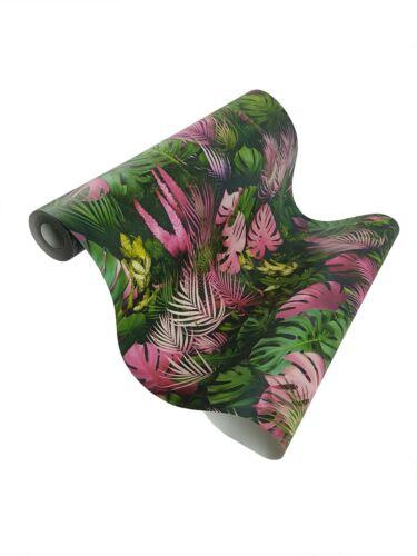 Ireland Création effet 3D Tropical Palm Leaf Papier Peint Vert Rose Vinyle Coller Paroi