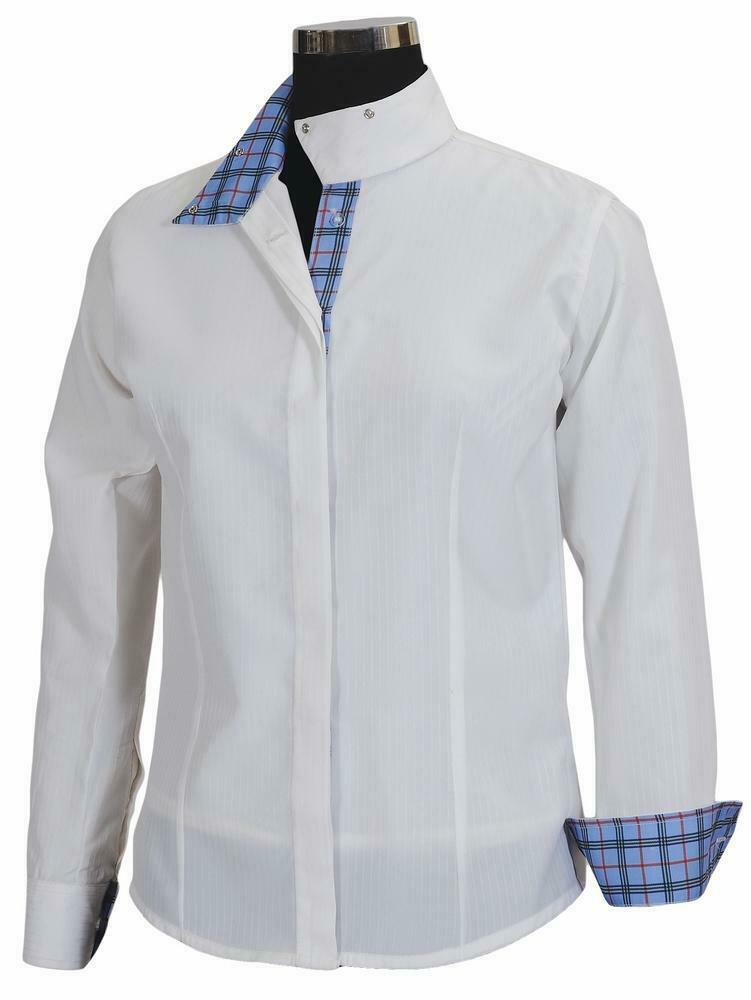 Equine Couture Wouomo Isabel Coolmax Show Shirt, biancaPlaid, 36