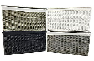 Image Is Loading Shabby Chic White Grey Black Strong Wicker Storage