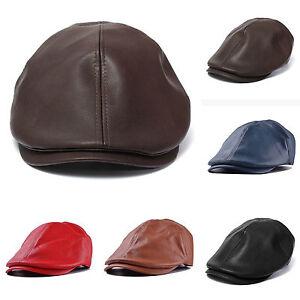 Men Newsboy Cabbie Flat Cap Panel Baker Boy Hat Leather ...