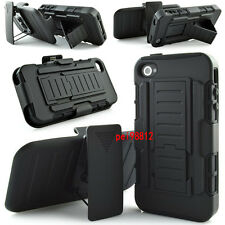 For Iphone 4 4s Black Protective Combo Armor Case Cover with Belt Clip Holster