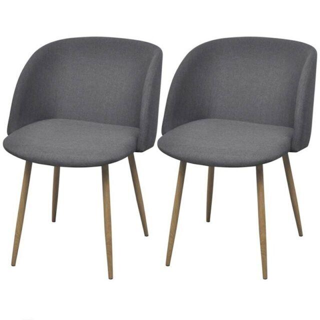 Dining Chair x2 Fabric Arm Steel Seat Cafe Kitchen Furniture Dark GreyvidaXL