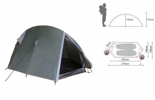 Ribelli Tunnelzelt 2 Personen Campingzelt Zelt Wurfzelt Ultraleicht wasserdicht