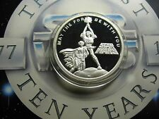 LUKE SKYWALKER CARRIE FISHER DISNEY 1987 STAR WARS 10TH ANNIV 999 SILVER COIN #H
