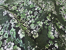 """Verde """"Mini Girasol"""" Retro Estampado Floral Vestido Tejido. 150 Cm De Ancho"""