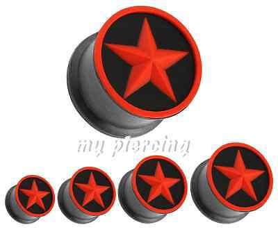 Sunny Paar 2g To 1.6cm Red Star In Schwarz Flexibel Silikon Double Flared Ohr Stecker Body Jewelry Fashion Jewelry