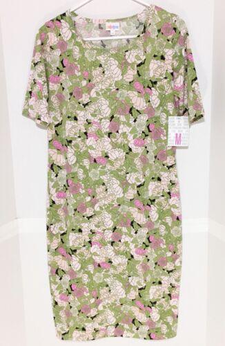 LuLaRoe Julia Dress Medium Floral Green Pink Black Roses