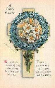 Clapsaddle-Easter-Postcard-Holy-Cross-Forget-me-not-and-Lily-Flowers-112477