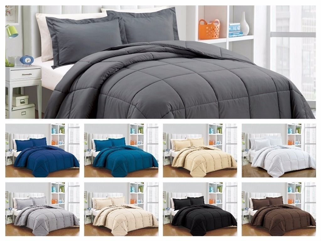Down Alternative Comforter 1000TC EgyptianCotton 200GSM Solid color Full Size