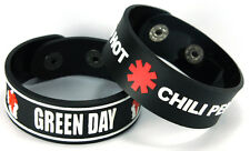 GREEN DAY RED HOT CHILI PEPPERS NEW! 2pcs(2x) Rubber Bracelet Wristband ww135