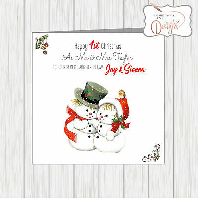 Christmas Card for Couple Daughter and Son-in-Law Xmas Card Daughter and Son-in-Law Christmas Card Snowman Christmas Card Christmas Card for Daughter and Son-in-Law