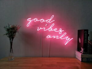 Details about New Good Vibes Only Neon Sign For Bedroom Wall Decor Artwork  Light With Dimmer