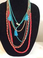 Macy's Turquoise Seed Beds Multi Layer And Red Beads $32.50 Mh21